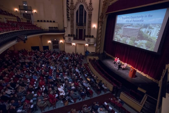 Pensacola Mayor Grover Robinson speaks Jan. 27 during a CivicCon event at the Saenger Theatre in downtown Pensacola.