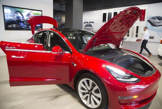 Tesla Model 3 arrives at Kierland Commons in Phoenix on Jan. 26, 2018.