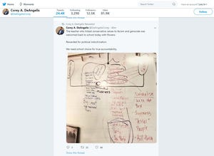 """A screenshot of a tweet from Corey DeAngelis, with libertarian think tank Reason Foundation, shows a pictureof a marked-up dry-erase board. A diagonal line links the word """"Republicans"""" with """"fascism"""" and """"nationalism."""" Underneath nationalism, is the word """"genocide,"""" among others."""
