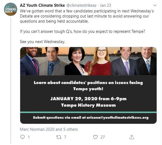 AZ Youth Climate Strike called on Tempe mayoral and council candidates to reaffirm their commitment to attend the group's candidate forum on Twitter.