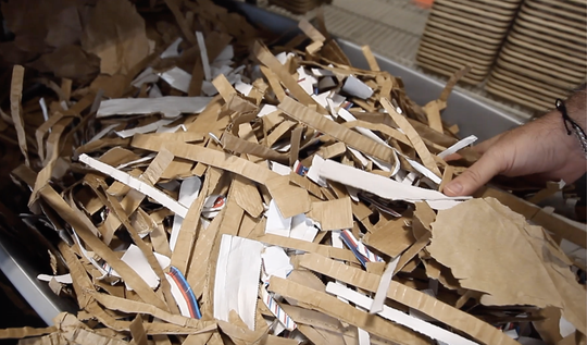Footprint uses mainly recycled fiber like cardboard boxes to create their compostable food ware products.