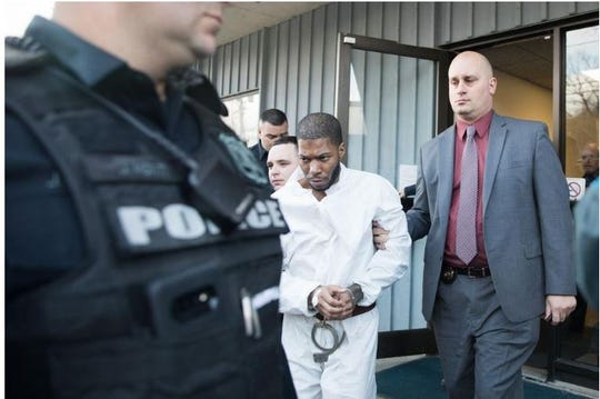 Kaliek Goode-Ford is led out of his arraignment at Town of Newburgh Justice Court on Monday afternoon. He is charged with three counts of second-degree murder. On Tuesday, in an unrelated gun case, he was sentenced to seven years in prison.