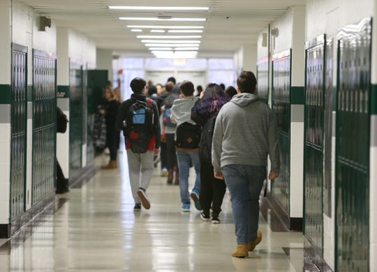 Students walk to class at Spackenkill High School in the Town of Poughkeepsie on January 28, 2020.