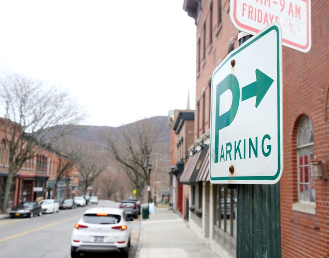 A parking sign along Main Street in Beacon on January 28, 2020.