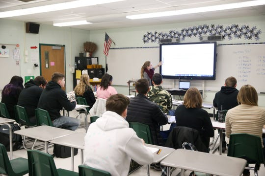 Ellie Quinlan teaches Elementary Statistics at Spackenkill High School in the Town of Poughkeepsie on January 28, 2020.