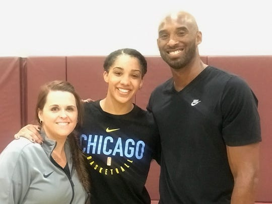 Sarah Schopper, left, with Gabby Williams, center, and Kobe Bryant at his basketball academy last summer in Southern California.