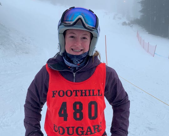 Foothill skier Mathilda Karlsson poses at Mt. Shasta Ski Park on Monday, Jan. 27, 2020.