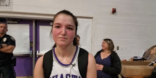 Shasta senior Ava Jackson at her's school gym after helping the Wolves edge Foothill on Friday, Jan. 24, 2020.
