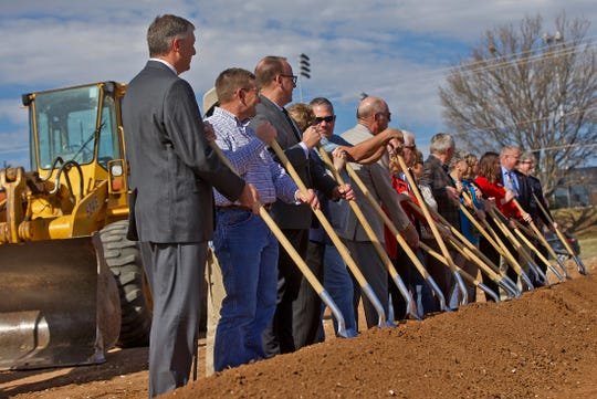 Guests participate in a groundbreaking ceremony for the new West Texas Rehabilitation Center's Hospice of San Angelo facility Monday, Jan. 27, 2020.