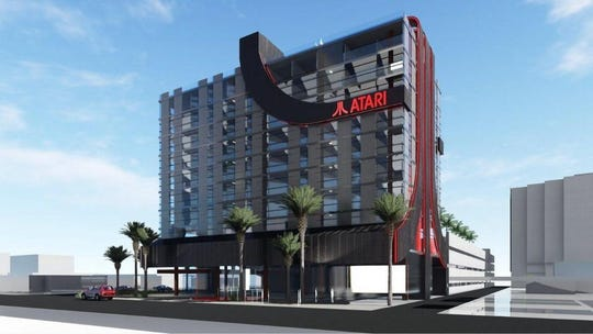 An artist's rendering shows what a line of Atari-themed and branded hotels could look like. Austin is one of eight cities being considered for the video-game focused hotel venture.