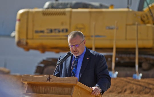 Steve Martin, president and CEO of the West Texas Rehabilitation Center, speaks at a groundbreaking ceremony for a new facility in San Angelo on Monday, Jan. 27, 2020.