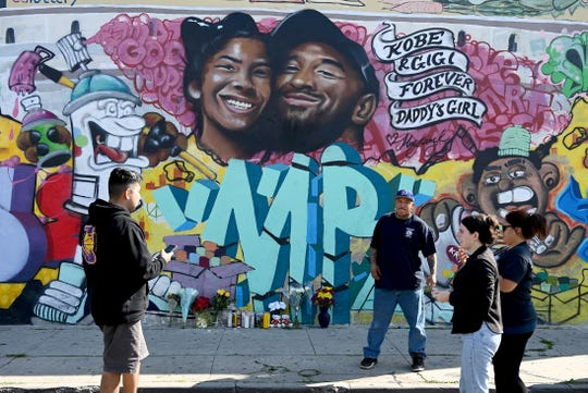 Jan 27, 2020; Los Angeles, California, USA; A mural painted yesterday at the Pickford Market in Los Angeles by graffiti artist Jules Muck pays tribute to Kobe Bryant who was killed in a helicopter crash Jan 26, 2020. Mandatory Credit: Jayne Kamin-Oncea-USA TODAY Sports