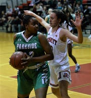 Parkside's Jacqueline Wright goes against James M. Bennett's Olivia Owens on Tuesday, Jan. 28, 2020.