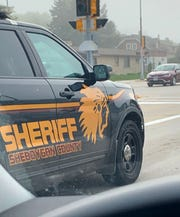 A Sheboygan County sheriff squad car is emblazoned with a chief's head image in fall 2019.