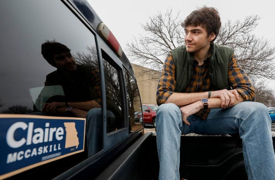 """Mike Owsley, a student at Kickapoo High School, is president of the Greene County Young Democrats. Owsley calls his truck the """"Clairemobile,"""" a reference to former Senator Claire McCaskill whose 2018 reelection campaign he worked on."""