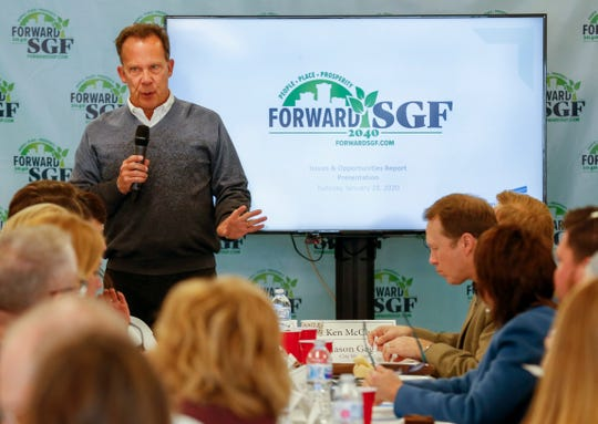 Tom Prater speaks during a Forward SGF meeting on Tuesday, Jan. 28, 2020.