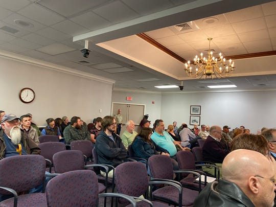 Dozens turned out for Monday's Waynesboro City Council meeting, expecting council to take action on a Constitutional City resolution. Council chambers, pictured here, were about 75% full.
