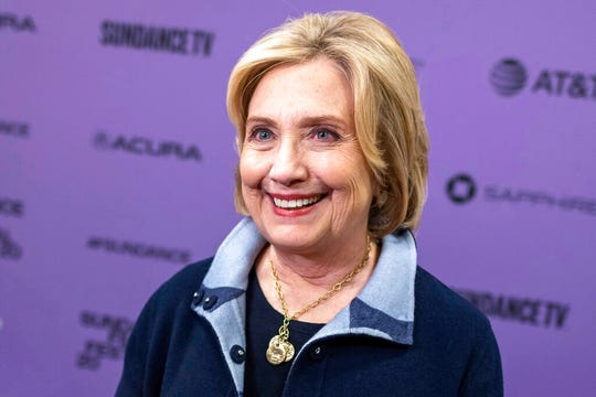 """Hillary Clinton attends the premiere of """"Hillary"""" at The Ray Theatre during the 2020 Sundance Film Festival on Saturday, Jan. 25, 2020, in Park City, Utah. (Photo by Charles Sykes/Invision/AP)"""