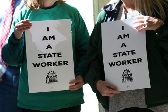State workers rallied outside the Florida House of Representatives to demand higher pay on Tuesday, Jan. 28, 2020.