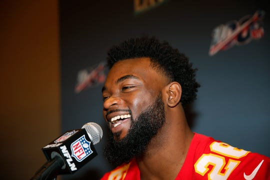 Kansas City Chiefs running back Damien Williams speaks during a news conference on Tuesday, Jan. 28, 2020, in Aventura, Fla., for Super Bowl LIV.
