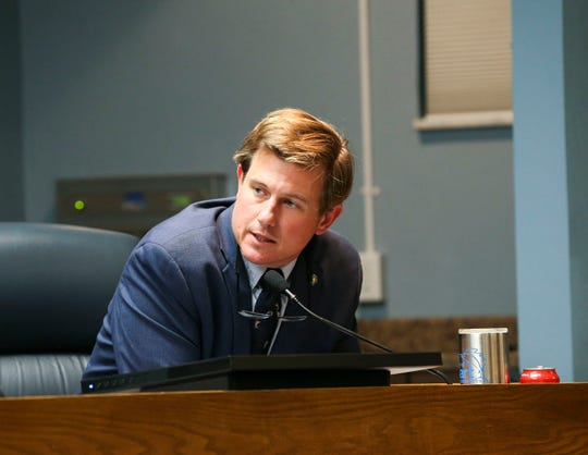 """City Commissioner Merritt Matheson discusses a lawsuit to sue the U.S. Army Corps over Lake Okeechoobee water levels Monday, Jan. 27, 2020, at Stuart City Hall. """"Everything is just a few years away … we can't wait those two more years,"""" said Matheson. """"My argument is we are are in an emergency situation now."""""""