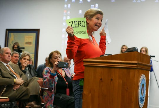 Becky Harris, of Stuart, discusses her support to sue the U.S. Army Corps over Lake Okeechoobee water levels Monday, Jan. 27, 2020, at Stuart City Hall. The Stuart City Commission agreed to sue the U.S. Army Corps over Lake Okeechoobee water levels, on a 5-0 vote. The commission will affirm the details of the lawsuit at its next meeting.