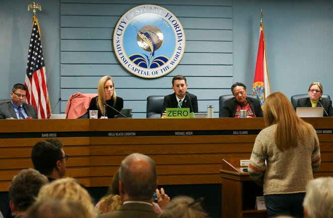 The Stuart City Commission agreed to sue the U.S. Army Corps over Lake Okeechoobee water levels, on a 5-0 vote, at Stuart City Hall Monday, Jan. 27, 2020. The commission will affirm the details of the lawsuit at its next meeting.