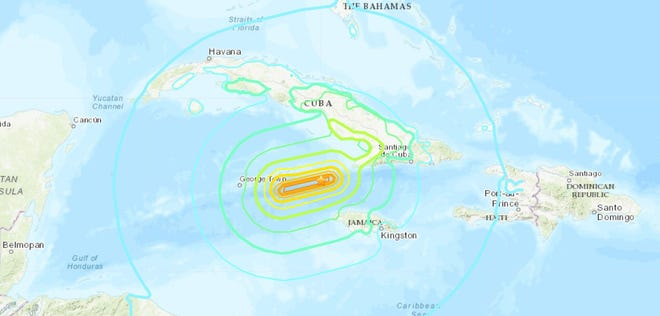 A 7.7 magnitude earthquake was reported in the Caribbean Sea between Jamaica and Cuba, according to data from the U.S. Geological Survey said.