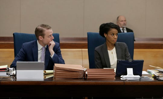 State prosecutors Heather Haywood and Mathew Englebaum listen during the trial of former El Paso police Officer William Ollie Alexander for a sexual assault in May 2018.