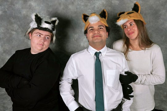 """Teddy Skye Garcia, from left, who plays the Badger, Luis Tirado as Mr. Fox and Brooke Baldauf as Mrs. Fox in the Conejo Young Ensemble's production of """"The Fantastic Mr. Fox."""""""