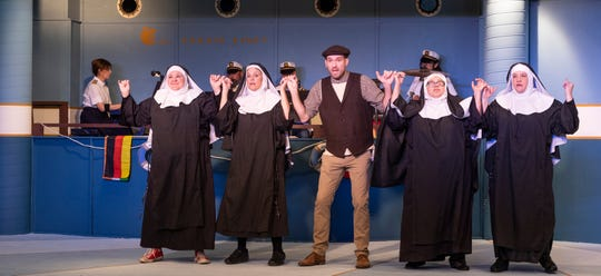 Ali Malingen, left, Barbara Goodsby, Ryan Turner, Iris Brito, and Nancy Gregg rehearse for Encore Theater Company's production of Meshuggah-Nuns! on Monday, January 27, 2020.