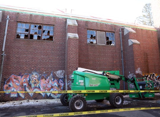 A view of the 23,0000 square foot New Rochelle Armory, which has been neglected for decades has graffiti and broken glass, Jan. 24, 2020. The New Rochelle Armory which the city bought from the state for $1 in 1997 is finally undergoing renovations.