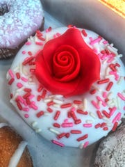 Special Valentine's Day doughnut at Duck Donuts in Mamaroneck.