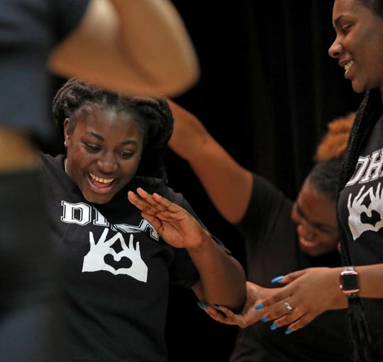 """Wilna Charles, whose step name is """"Smilie,"""" during the Divas Have Mercy step practice at Mercy College in Dobbs Ferry on Jan. 24, 2020. The steppers will participate in UpStaged 1: Step and the City NCPA Step Championships at Lincoln Center on Feb. 8."""