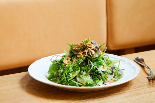 A beautifully composed salad from Restaurant Kinsley at Hotel Kinsley in Kingston.