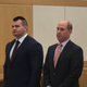 Former Mount Vernon police Officer James Ready, left, appears with his lawyer Jeffrey Chartier in Westchester County Court on Jan. 28, 2020. Ready was arraigned on felony charges of second-degree assault and first-degree falsifying business records for allegedly body slamming a prisoner who was handcuffed and shackled and then lying about it on his police report.