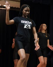 Briyanna Hutchinson of Divas Have Mercy shows a move during practice at Mercy College in Dobbs Ferry on Jan. 24, 2020. The team will participate in UpStaged 1: Step and the City NCPA Step Championships at Lincoln Center on Feb. 8.