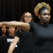Divas Have Mercy steppers practice at Mercy College in Dobbs Ferry on Jan. 24, 2020. The steppers will participate in UpStaged 1: Step and the City NCPA Step Championships at Lincoln Center on Feb. 8.