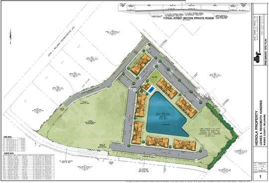 This rendering shows the planned layout of the recently approved apartment complex in the Rehoboth Beach area.