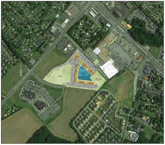 This image included in the proposal to bring 224 apartment units to the Rehoboth Beach area shows the site location. Toward the right is Del. 1, and between the highway and the property is a shopping center with a Walmart.