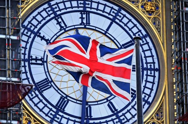 Britain's Union Jack flag flies in front of Big Ben in London, on Jan. 27, 2020.