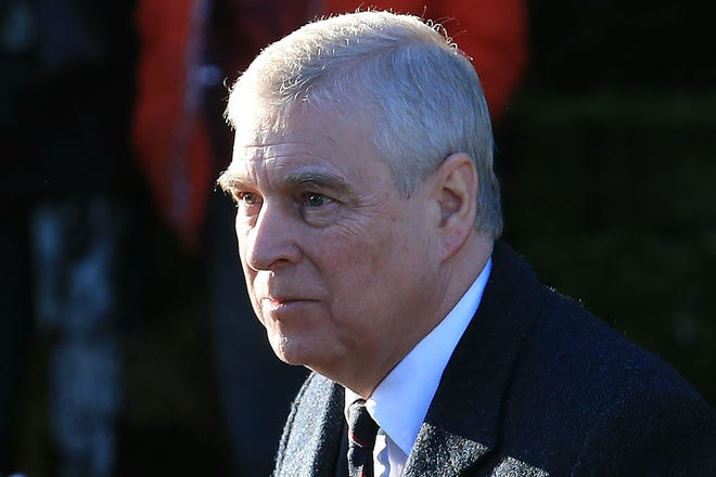 Prince Andrew on Jan. 19, 2020, at Sunday church service at Sandringham.