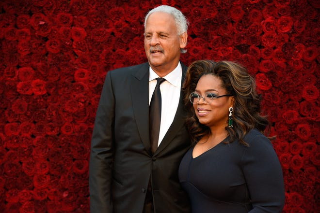 Oprah and Stedman Graham attend Tyler Perry Studios grand opening gala in October 2019. Perry named one of the sound stages after Winfrey.
