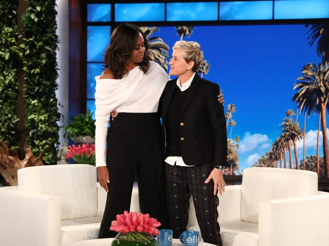 "Former First Lady Michelle Obama greets Ellen DeGeneres on a taping of ""The Ellen DeGeneres Show."""