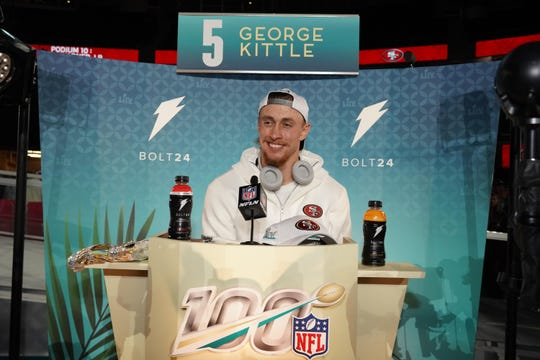George Kittle is shown at Super Bowl Media Day in Miami.