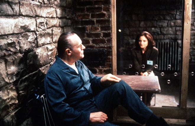 "Anthony Hopkins, as imprisoned serial killer Hannibal Lecter, and Jodie Foster, as FBI rookie Clarice Starling, earned Oscars for their performances in ""The Silence of the Lambs."""