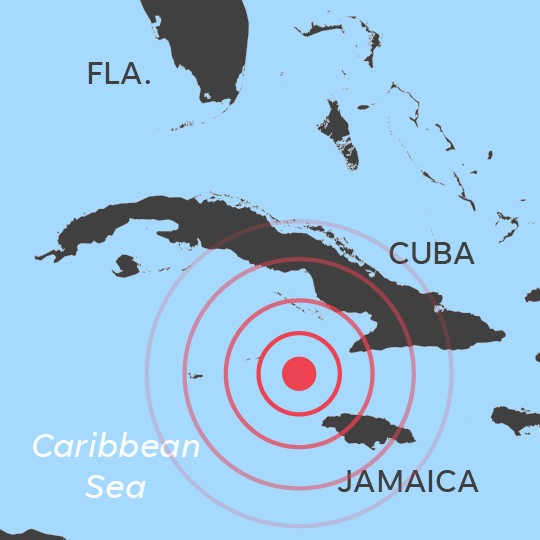 Powerful 7.7 earthquake strikes in Caribbean between Cuba and Jamaica