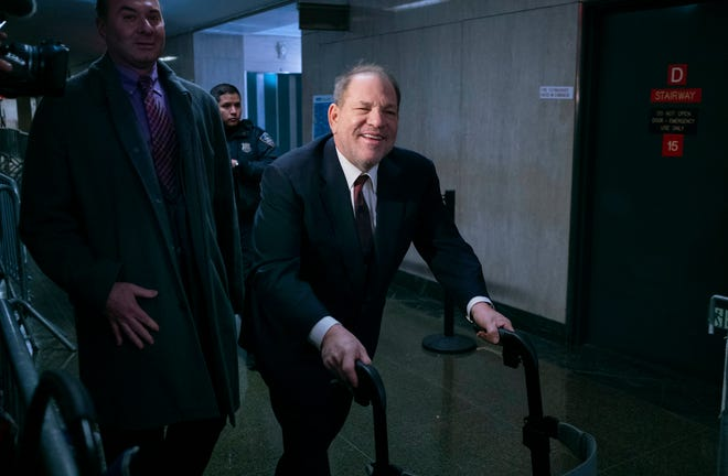 Harvey Weinstein arrives for another day in his sex crimes trial in New York on Jan. 28.