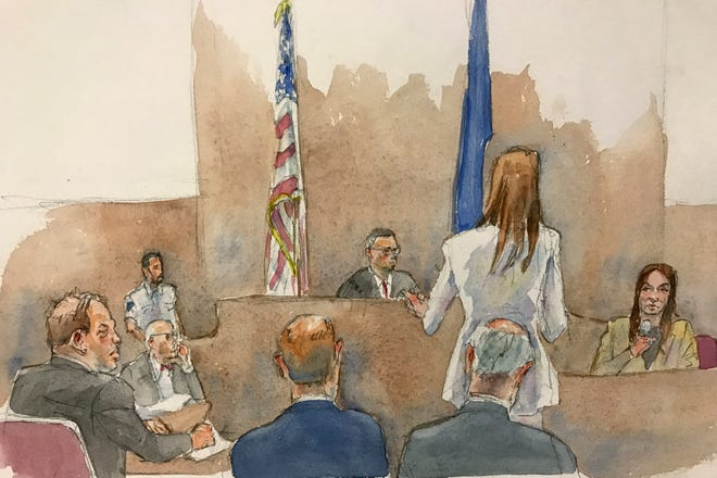 A courtroom sketch shows Harvey Weinstein, far left, Assistant District Attorney Meghan Hast, second from right, and witness Mimi Haleyi, far right, during Haleyi's testimony Jan. 27. Judge James Burke is seated between two flags.