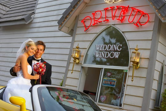 A drive-through wedding at Las Vegas Little White Wedding Chapel will run you $10.